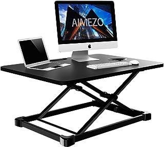 AIMEZO Height Adjustable Standing Desk Stand Desk Converter Computer Desktop Office 650 x 470 mm Tabletop Standing Desk