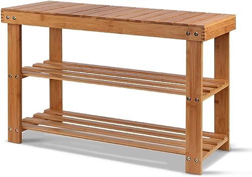 Artiss Bamboo Shoe Rack Wooden Seat Bench Organiser Shelf Stool