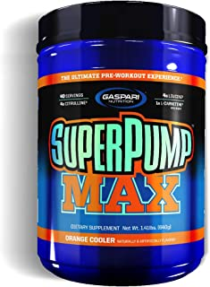 Gaspari Nutrition Super Pump Max, Pre Workout Supplement 40 Servings, Non-Habit-Forming, Sustained Energy & Nitric Oxide Booster Supports Muscle Growth, Recovery & Replenishes Electrolytes, Orange