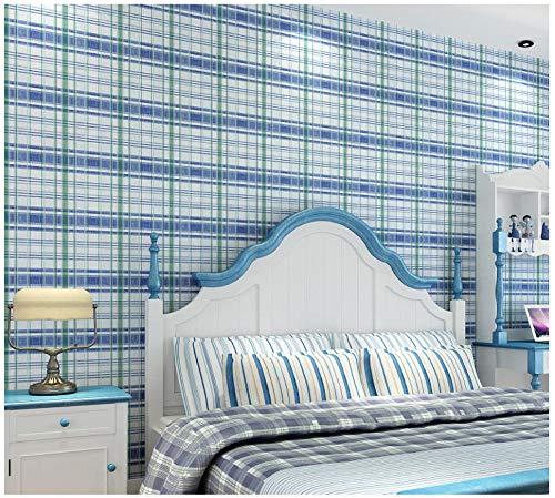 Vliesbehang vintage Engelse plaid 0.53 x 10 m behang modern minimalistische decoratie voor de woonkamer slaapkamer kinderkamer blauw