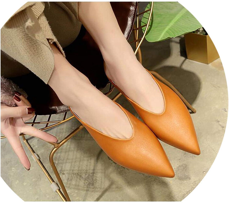 Women Flat shoes Mules for Women PU Leather Pointed Toe Slip On Flip Flops Women Slipper