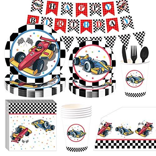 NAL Geburtstagsparty-Zubehör, Rennauto-Party-Zubehör, 115 Stück, Einweggeschirr, Rennauto-Teller, Becher, Servietten, Banner für Jungen, Kinder, Rennen, Geburtstagsparty-Dekorationen, für 16 Personen
