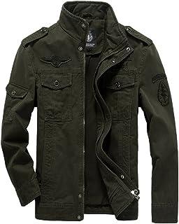 معطف رجالي كاجوال من Kolongvangie سترة ضد الريح ملابس رياضية خارجية بنمط عسكري