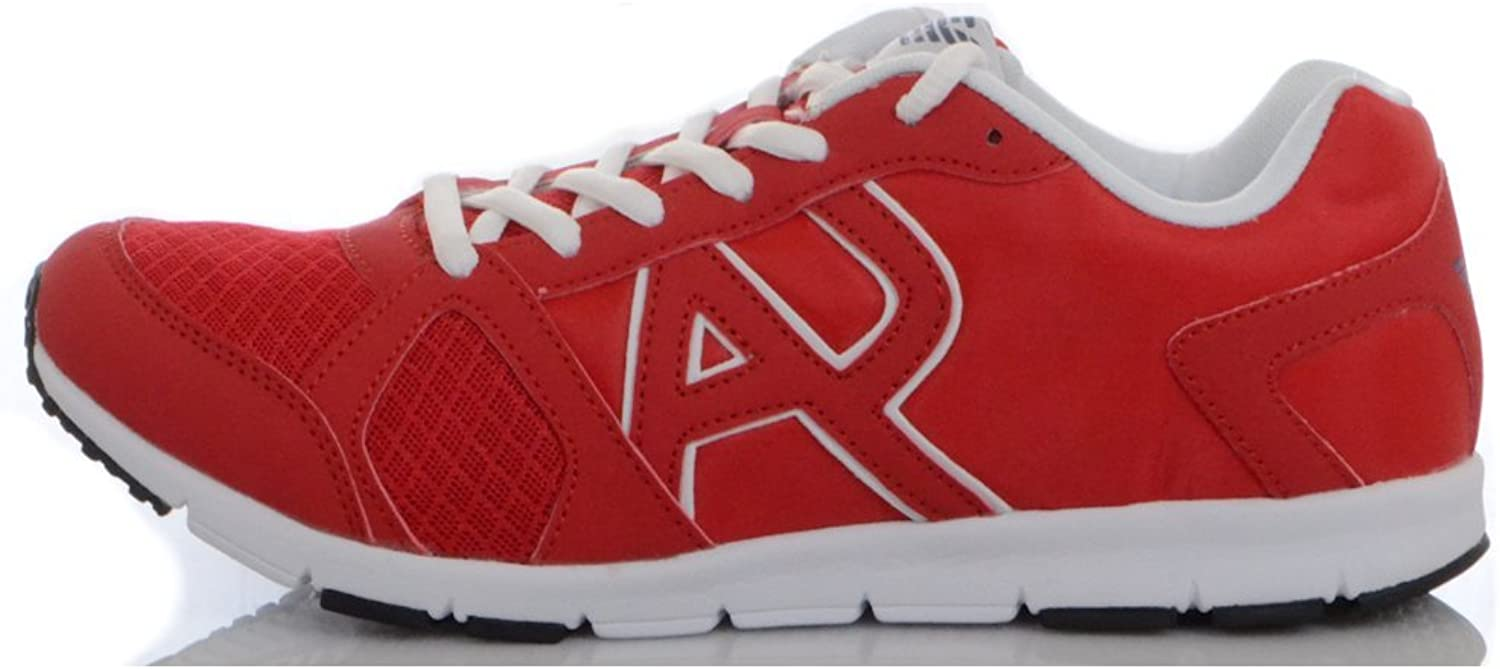 Armani Jeans Runner Monochrome Mesh Red Trainer 6