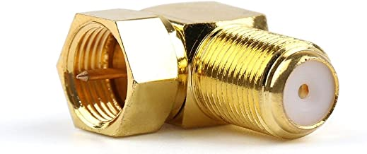1x Adapter 90 Degree Angle F Female Jack To F TV Plug Male RF Connector Right Angle Gold Ships from USA