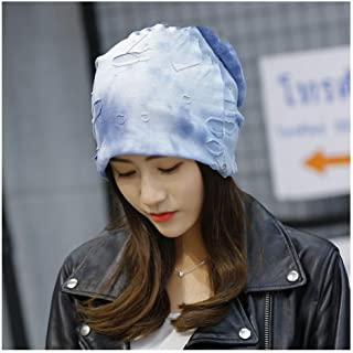 VAXT Guide Korean Version Of The Fashion Hole Print Caps Casual Crazy Baotou Caps Hooded Cap Autumn And Winter Warm Hat Female Bowler Hat (Color : Light blue, Size : 55-60cm)