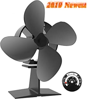 Sonyabecca 4 Blade Wood Stove Fan Fireplace Fan with Magnetic Thermometer for Wood Burning Stove Fireplace