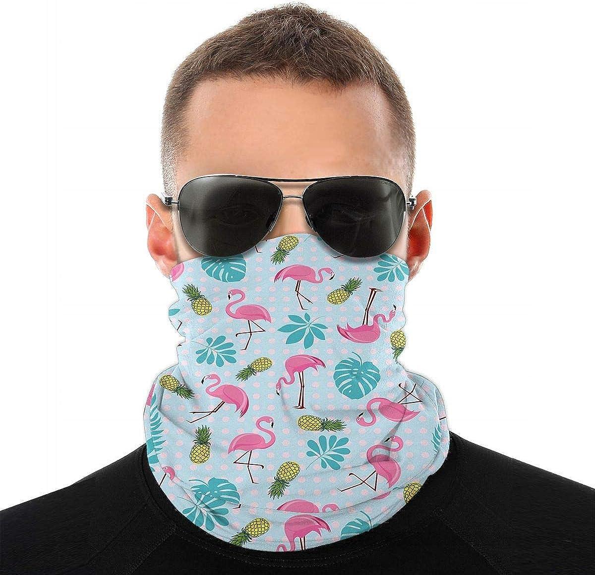 KiuLoam Flamingo and Pineapple Seamless Face Mask Bandanas Neck Gaiter for Men and Women, Multifunction Headband Scarf for Dust, Outdoors, Sports