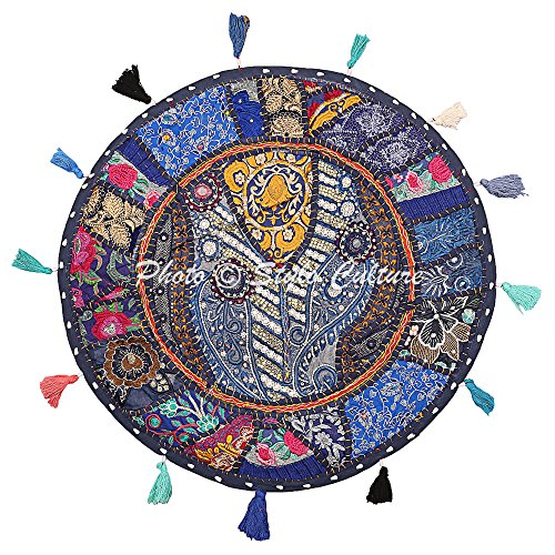 Stylo Culture Decorativo Indio Bohemio Redondo Cojines De Suelo Jardin Patchwork Funda Cojin Etnico Azul Oscuro 55x55 cm Algodón Bordado Vintage Decoración del Hogar Funda De Almohada