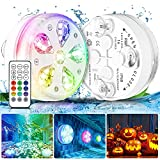 Bukm 2 Pack Magnet Submersible 16 LEDs Pool Lights with Suction Cups, Remote (RF),IP68 Full Waterproof RGB Colors Lights Battery Underwater for Bathtub,Shower,Hot Tub,Pond (Upgrade Version)