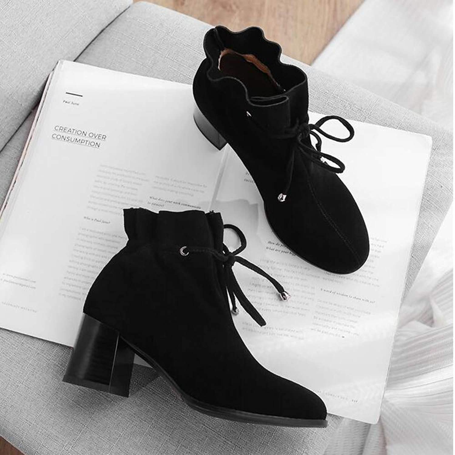 Xiaolin shoes Women's Low Heel Western Martin Boots Lace High Heel Ankle Boots Fashion Women's Boots (color   B, Size   US5 EU35 UK3 CN34)