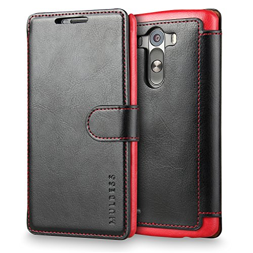 Mulbess Layered LG G3 Leather Case,Flip Phone Case Wallet with Magnetic Clasp for LG G3 Cover, Black