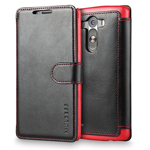 Mulbess Handyhülle für LG G3 Hülle Leder, LG G3 Handytasche, Layered Flip Schutzhülle für LG G3 Hülle, Schwarz