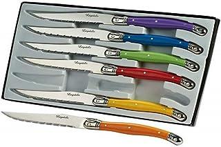 Laguiole I7209P6-NT Boîte de 6 Couteaux de Table 6 Couleurs Pastel