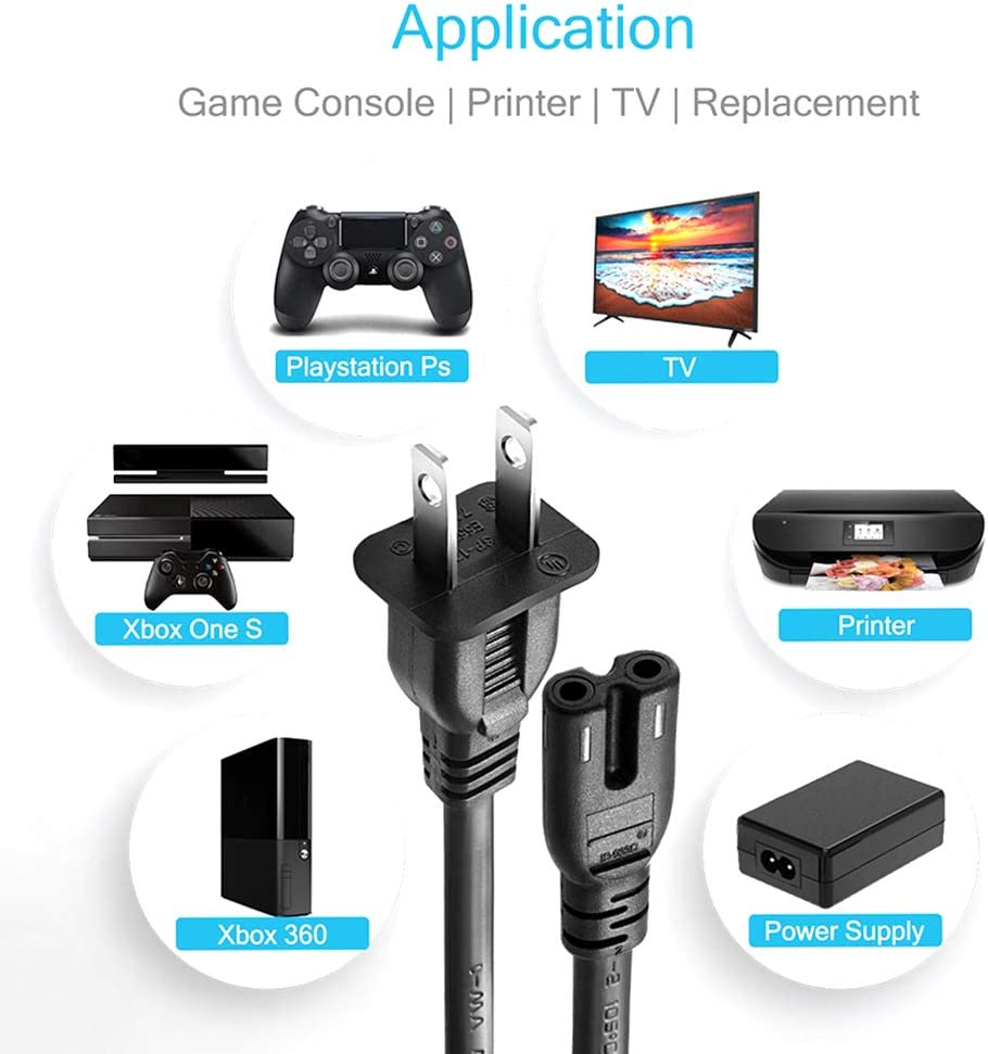 FIOTOK Audio Video RCA AV Cable and AC Power Supply Adapter Cord for Xbox Game