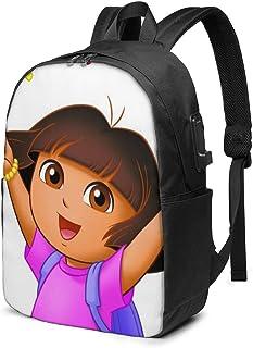Dora Explorer Mochila USB de 17 Pulgadas Unisex Mochila para portátil de Viaje, Resistente al Agua con Puerto de Carga USB para coleg