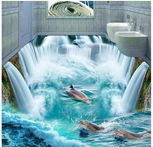 Xcmb 3D Pvc Bodenbelag Benutzerdefinierte Foto Selbstklebende Wasserdichte Boden Wasserfall Delphin Malerei Bild 3D Wand Zimmer Wandbilder Tapete-120Cmx100Cm