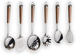 Berglander Stainless Steel Wooden Handle Kitchen Utensil Set, Ladle, Spoon, Skimmer, Egg Whisk, Slotted Turner, Pasta Server 6 Piece.