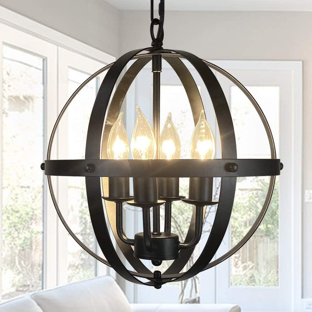 Long Beach Mall 4-Light Rustic Pendant Lighting Adjustable Indust Height Fixture New item