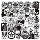 Gothic Skull Stickers for Laptops, 50PCS No Repeat Removable Vinyl Stickers for Water Bottle, Skateboard, Luggage, Phone Case, Notebook, Dark Aesthetic Decal Stickers for Boys Girls Teens