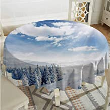 Lauren Russell Patterned Round Tablecloth Winter Idyllic Snow Covered Mountain Forest Frozen ICY Highland Nordic Peaks Scenery Pale Blue White Circular Table Cover Diameter 60