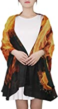 Fire Violin Key Music Note Abstract Sheer Scarves Shawl Wrap Outdoor Oblong Chiffon Scarf For Men and Women