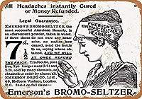 ヴィンテージの外観の複製、エマーソンのブロモセルツァー頭痛AS648金属警告プラークレトロアート鉄絵画ヴィンテージ装飾ホームヤードロードバーストア