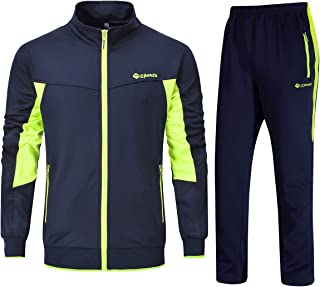 Men's Track Suits Sports Sweatsuits Full Zip Jackets Athletic Pants Zipper Pockets