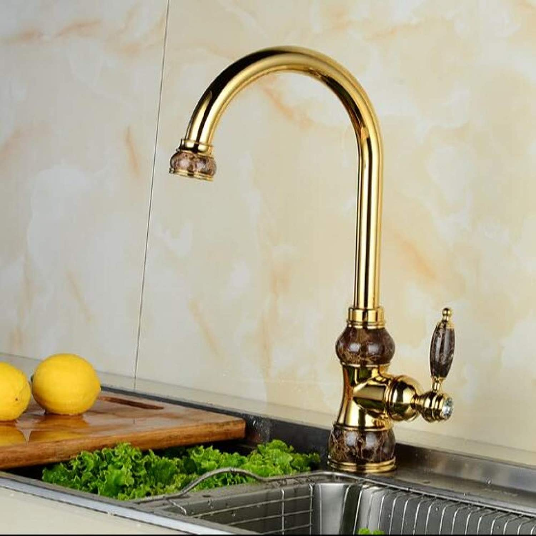 WSLWJH Waschbecken Wasserhahn Europische Jade Und Gold Küchenarmatur Heien Und Kalten Gemüse Becken Drehhhne Alle Kupfer Antiken Becken Wasserhahn Wasserhahn