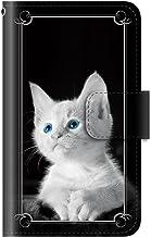 PLUS-S 猫 モノクロ 写真(手帳型)【02.アイカラー・白猫】 AQUOS R SH-03J SHV39 605SH 用 ケース 手帳型 カード収納 ストラップホール カメラホール 全面保護 マグネット スマホケース アクオス アール A...