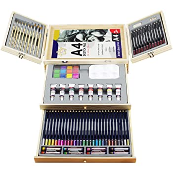 Professional Art Set, Art Supplies in Portable Wooden Case, 83 Pieces Deluxe Art Set for Painting & Drawing, Art Kit for Kids, Teens and Adult/Gift