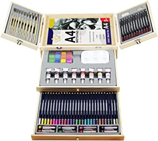 Professional Art Set,Art Supplies in Portable Wooden Case,83 Piece Deluxe Art Set for Painting & Drawing,Art Kit for Kids,...