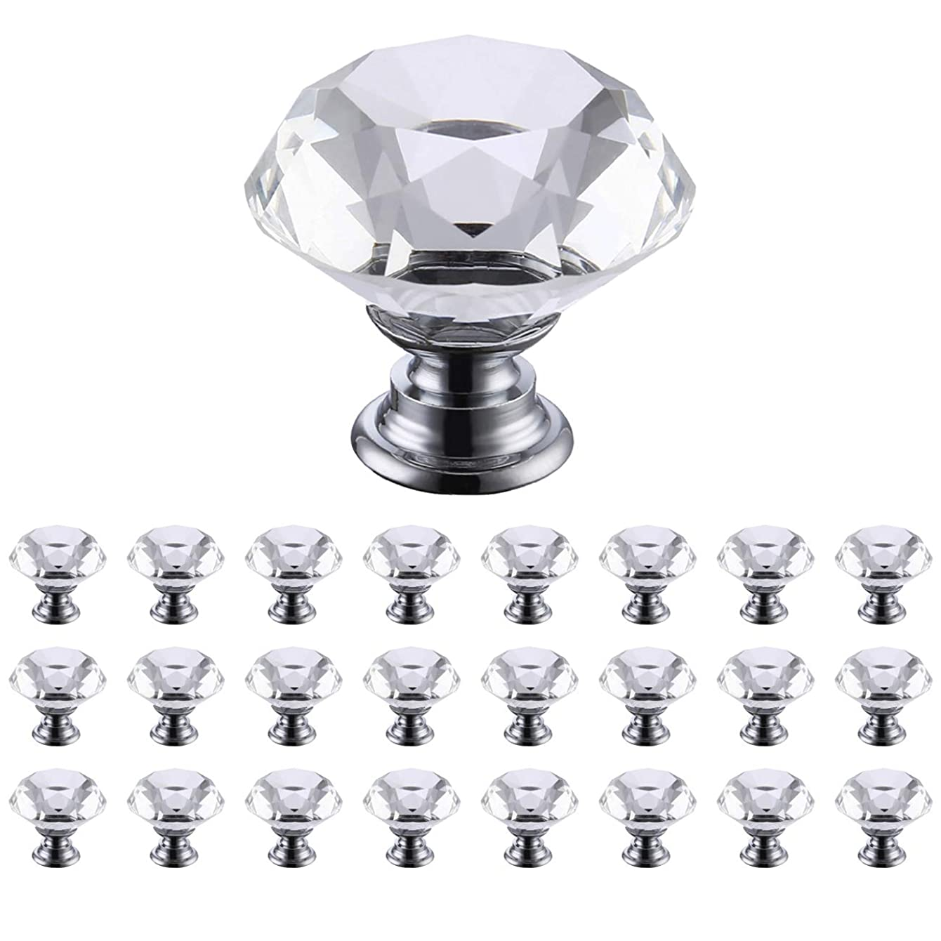 KES Cabinet Knobs 25 Pack Crystal Glass Dresser Drawer Knobs Diamond Shape Hand Pull for Home Kitchen Bathroom Cupboard, HCK700-P25