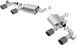 Borla 11925CF ATAK Axle-Back Exhaust System 2.75in. Into Muffler Dual 2.5in. Out Incl. Mufflers/Tailpipes/Clamps/4x6.25 in. Carbon Fiber Round Tips Dual Split Rear Exit ATAK Axle-Back Exhaust System