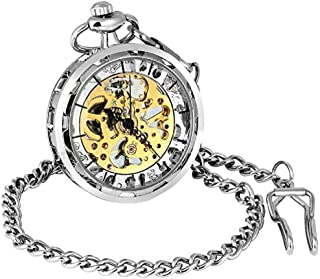 Mens Golden Open Face Pocket Watch Steampunk Skeleton Mechanical Hand Winding with Chain + Gift Box