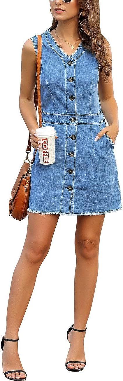 luvamia Women's Casual V Neck Sleeveless Jeans Button Down Denim Short Dress