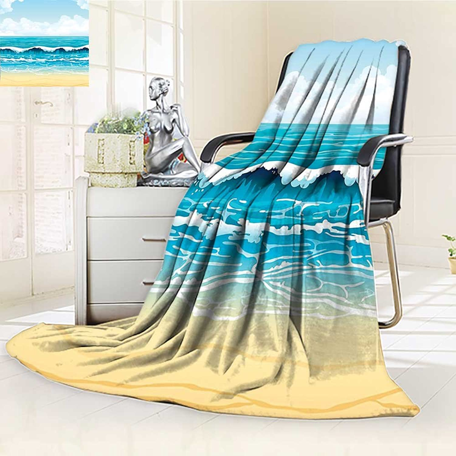 YOYI-HOME Digital Printing Duplex Printed Blanket of Summer Landscape with Waves and Sandy on a Bright Sky with Clouds Cream bluee Summer Quilt Comforter  W59 x H39.5