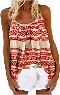 Printed Long Vest Flowy Tank Top for Women Loose Cami Pleated Dressy Swing Spaghetti Strap Camisole T Shirt Blouse