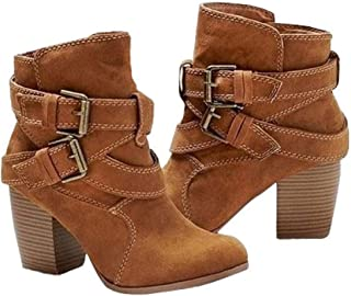Women's Fashion High Heel Ankle Boots (Color : Yellow, Size : 36EU)