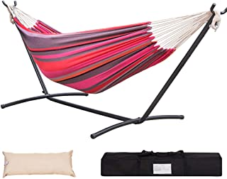Lazy Daze Hammocks Double Hammock with 9feet Space Saving Steel Stand Includes Portable Carrying Case and Head Pillow, 450 Pounds Capacity (Cherry Stripe)