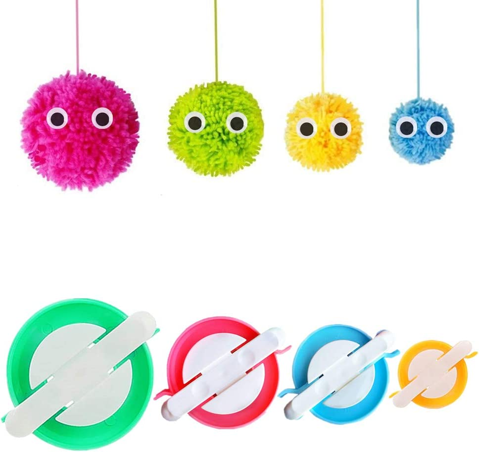 Pom Pom Maker, 4 Sizes Pompom Maker Tool Set for Fluff Ball Weave DIY Wool Yarn Knitting Craft Project for Kids and Adult - RRigo