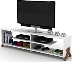 Home Canvas Kipp TV Stand Made In Turkey Modern Living Room TV Unit (White and Walnut)