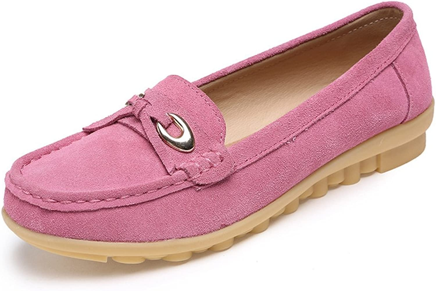 T-JULY Loafers shoes for Women - Bowknot Fashion Slip On Low-Heel Round Toe Suede Casual Penny Flat