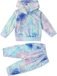 T TALENTBABY Kleinkind Baby Jungen Mdchen Tie Dye Velvet Hoodie Sweatshirt Neugeborenes Kind Langarm Pullover Sweatshirt Hosen Loungewear Outfit Sets