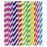 ZEONELY MART Paper Drinking Straws (9 inch, Multicolour) - Pack of 100 Pieces