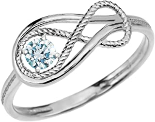 Aquamarine March Birthstone Rope Infinity 10k White Gold Ring