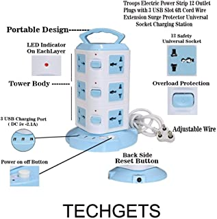 TECHGETS Tower Spike Buster 3 Floor 3 USB 12 Socket Surge Protector (White, Blue)