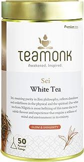 Teamonk Sei Premium High Mountain White Tea Bags - 50 Tea Bags | 100% Natural Tea | Powerful Antioxidant Tea | Tea for Glo...