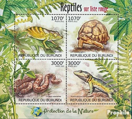 Prophila Collection Burundi 2560-2563 Minifoglio (Completa Edizione) 2012 Rare Rettili (Francobolli per i Collezionisti) Anfibi / rettili / Dinosauro