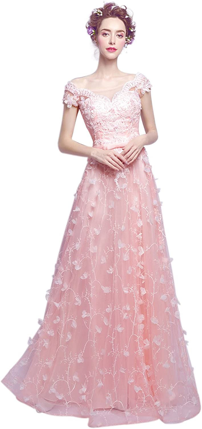 Epinkbridal Beautiful A Line Flowers Tulle Prom Dress Long Evening Gown for Party
